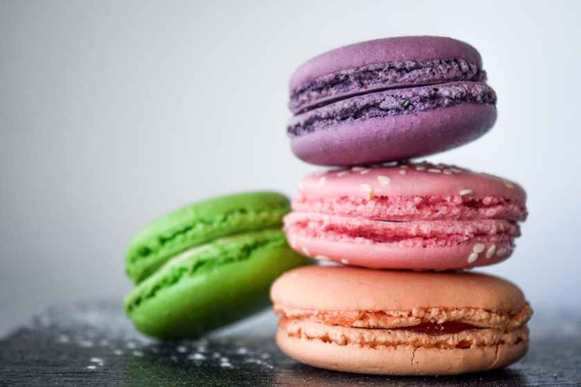 four assorted color of macaroons